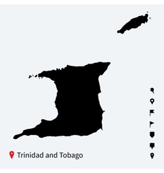 High detailed map of trinidad and tobago with pins vector