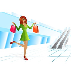 Girl supermarket package vector