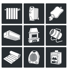 Climate equipment icons set vector