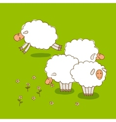 White sheep grazing on a green meadow vector