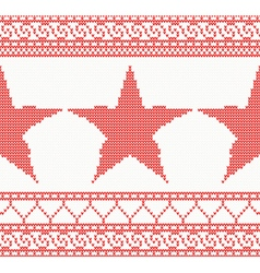 Christmas knitted background with star vector