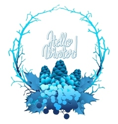 Winter frozen wreath vector