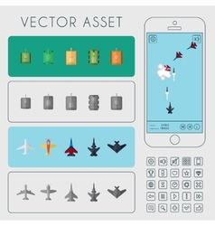 Aircrafts and tanks units set game asset vector