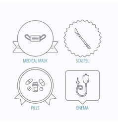 Medical mask pills and scalpel icons vector