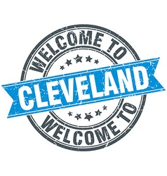 Welcome to cleveland blue round vintage stamp vector