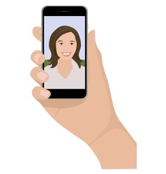 Mobile phone selfie woman vector