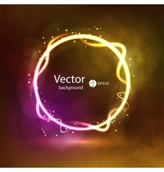 Abstract dark glowing circle background on smoky vector