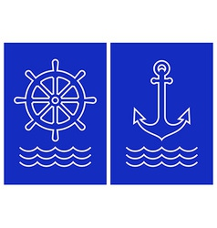 Anchor ship steering and sea wave vector image
