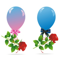 balloons couple rose vector image vector image