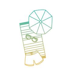 Beach umbrella swimsuit sunglasses and towel vector