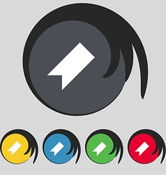 bookmark icon sign Symbol on five colored buttons vector image