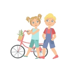 Boy and girl walking with the bicycle together vector