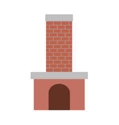 brick fireplace on colorful silhouette vector image