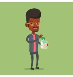 Businessman putting dollar money into glass jar vector
