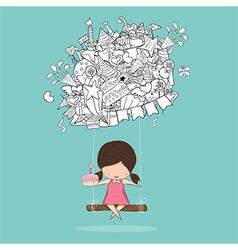 Cartoon girl swinging on happy birthday doodles vector