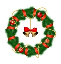Christmas wreath with baubles and christmas bell vector image