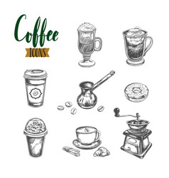 coffee sketch icons vector image