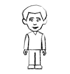 contour man with casual cloth icon vector image
