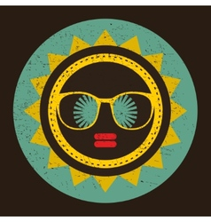 Cool sun with woman face in retro style vector