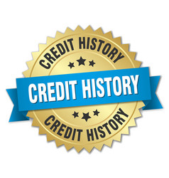 Credit history 3d gold badge with blue ribbon vector
