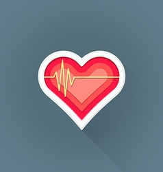 Flat cardiac medicine symbol icon vector