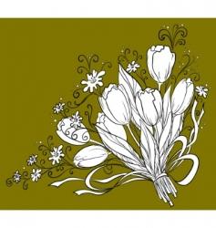 flower tulips contour vector image