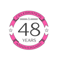 Forty eight years anniversary celebration logo vector