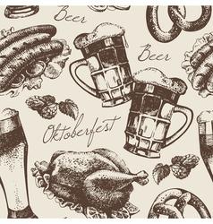 Hand drawn Oktoberfest vintage seamless pattern vector image vector image
