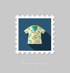 hawaiian shirt palm tree stamp summer vacation vector image vector image