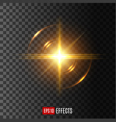 light flash with lens flare effect icon vector image vector image