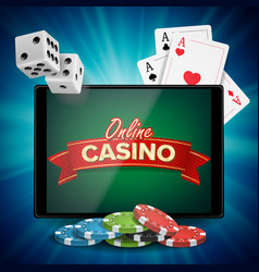 online casino banner with tablet bright vector image
