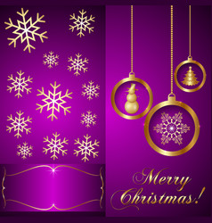 Pink Violet Christmas Invitation Card vector image