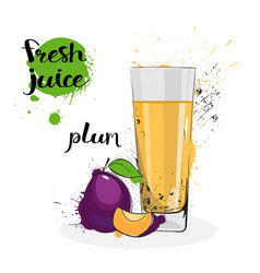 Plum juice fresh hand drawn watercolor fruit and vector