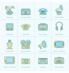 Retro Media Flat Line Icons vector image vector image