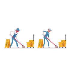 Set of male and female janitor mopping vector