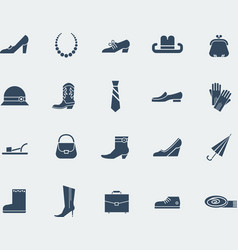 Shoes and accessories icons isolated on white vector image