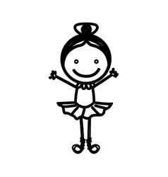 sketch silhouette girl ballet dancer vector image