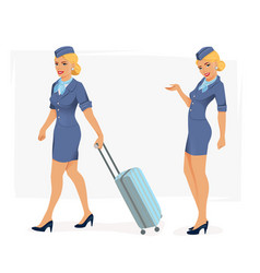 smiling stewardess vector image vector image