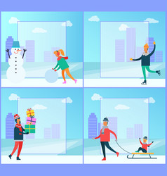 snowman and people winter set vector image