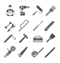 Tools Icons Black Set vector image