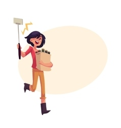 Woman hurrying to party and making selfie on the vector image