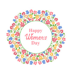 Womens day march 8 multicolour floral wreath vector