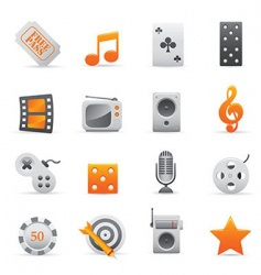 yellow entertainment icons vector image