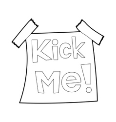 Inscription kick me icon outline style vector