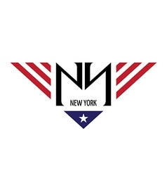 Ny initial letters with usa flag colors and symbol vector