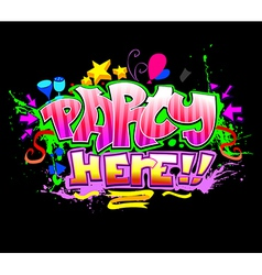 Party here colorful invitation background vector