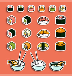 Meal rolls sushi set vector