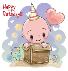 Birthday card with cute baby vector