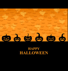 Halloween greeting pumpkins card vector