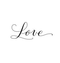 Love word hand written custom calligraphy great vector